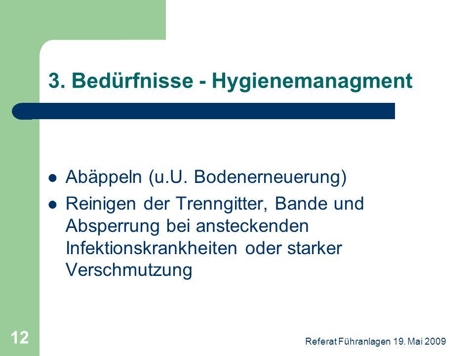 Referat Führanlagen 19. Mai 2009 12 3. Bedürfnisse - Hygienemanagment Abäppeln (u.U. Bodenerneuerung) Reinigen der Trenngitter, Bande und Absperrung b
