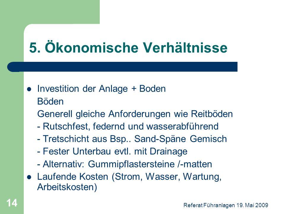 Referat Führanlagen 19. Mai 2009 14 5. Ökonomische Verhältnisse Investition der Anlage + Boden Böden Generell gleiche Anforderungen wie Reitböden - Ru