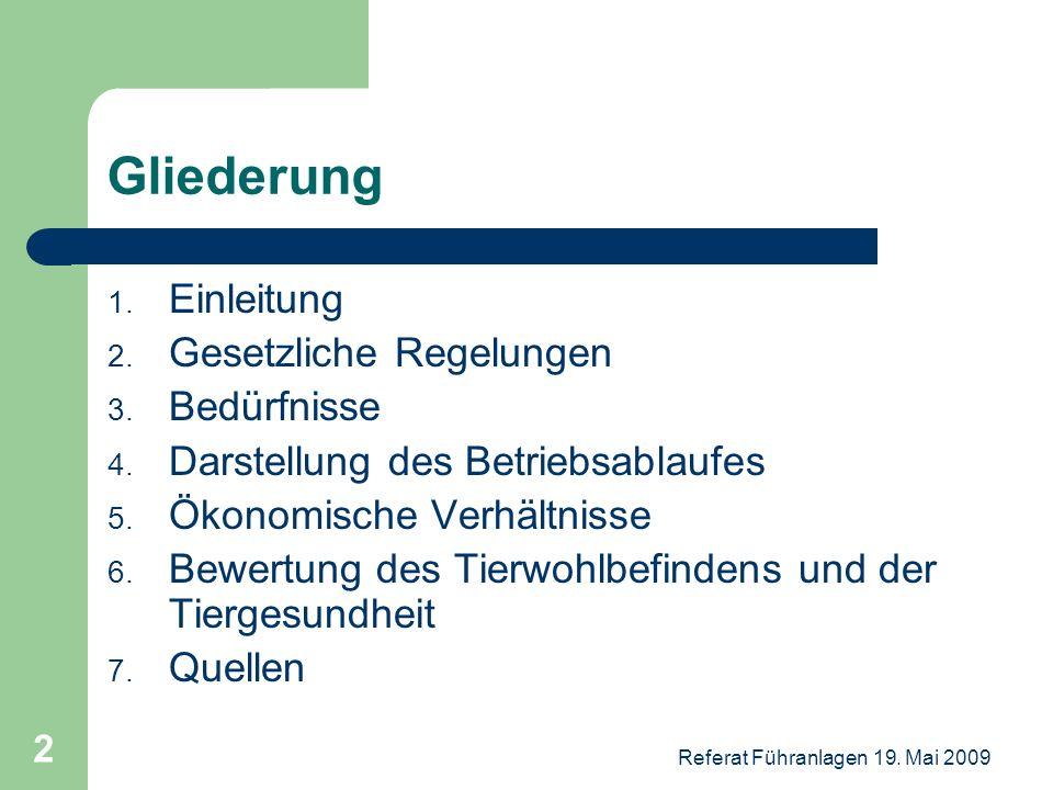 Referat Führanlagen 19. Mai 2009 2 Gliederung 1. Einleitung 2. Gesetzliche Regelungen 3. Bedürfnisse 4. Darstellung des Betriebsablaufes 5. Ökonomisch