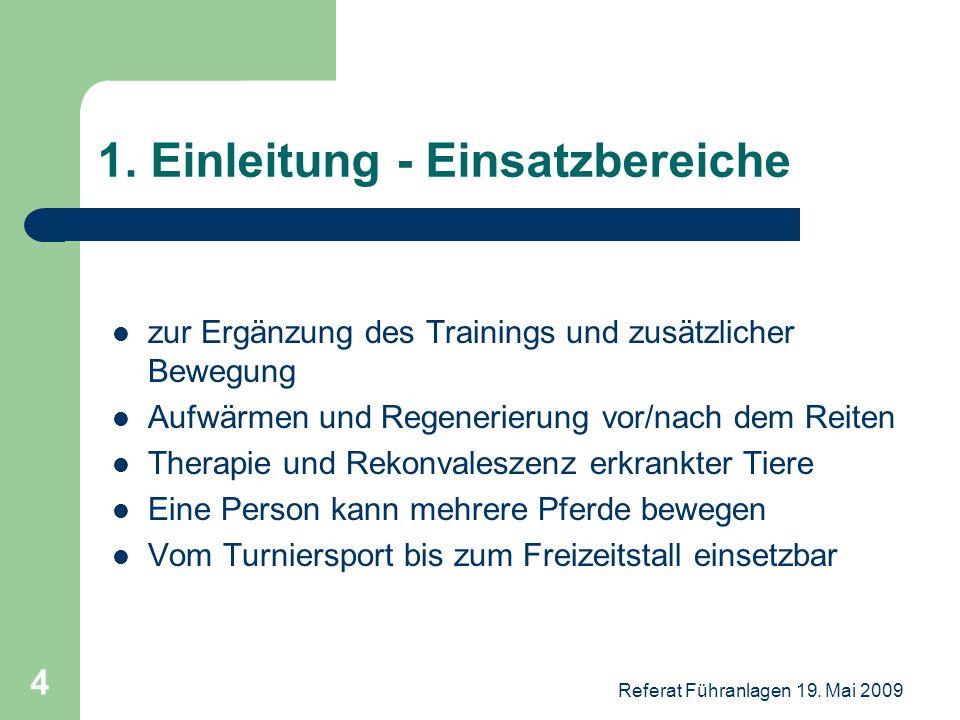 Referat Führanlagen 19. Mai 2009 4 1. Einleitung - Einsatzbereiche zur Ergänzung des Trainings und zusätzlicher Bewegung Aufwärmen und Regenerierung v