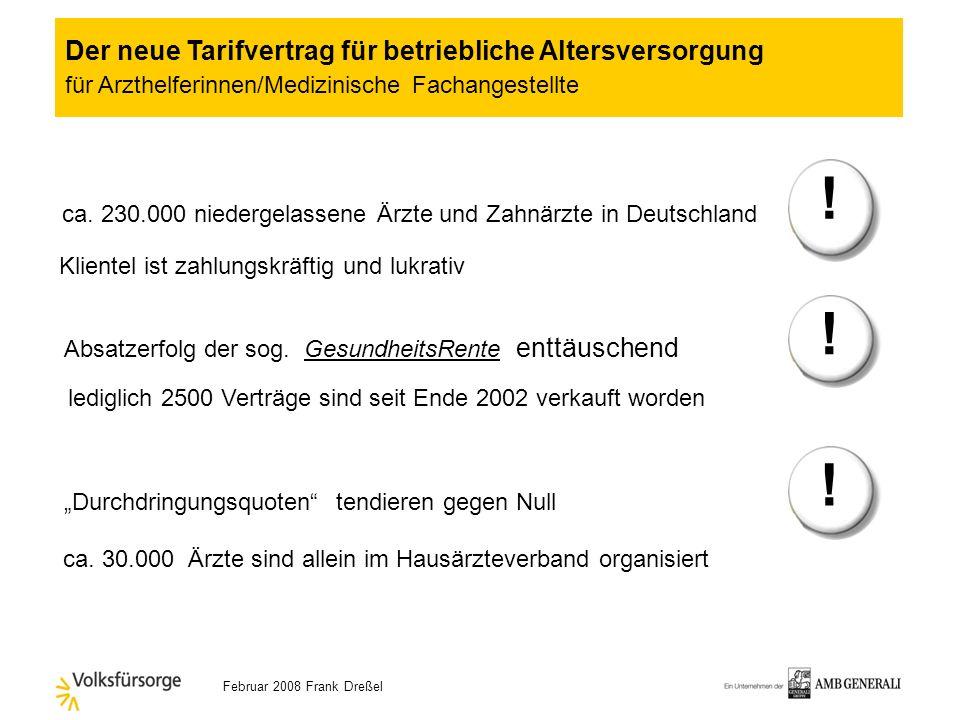 Februar 2008 Frank Dreßel Wie hoch ist überhaupt das Potential in Deutschland? Der neue Tarifvertrag für betriebliche Altersversorgung für Arzthelferi