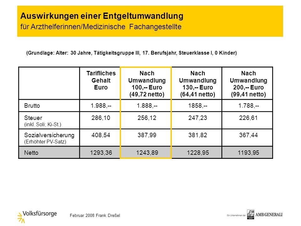 Februar 2008 Frank Dreßel Welchen Arbeitgeber betrifft es? … die dem Tarifvertrag angeschlossen sind … die sich in der Bezahlung an den Tarifvertrag a