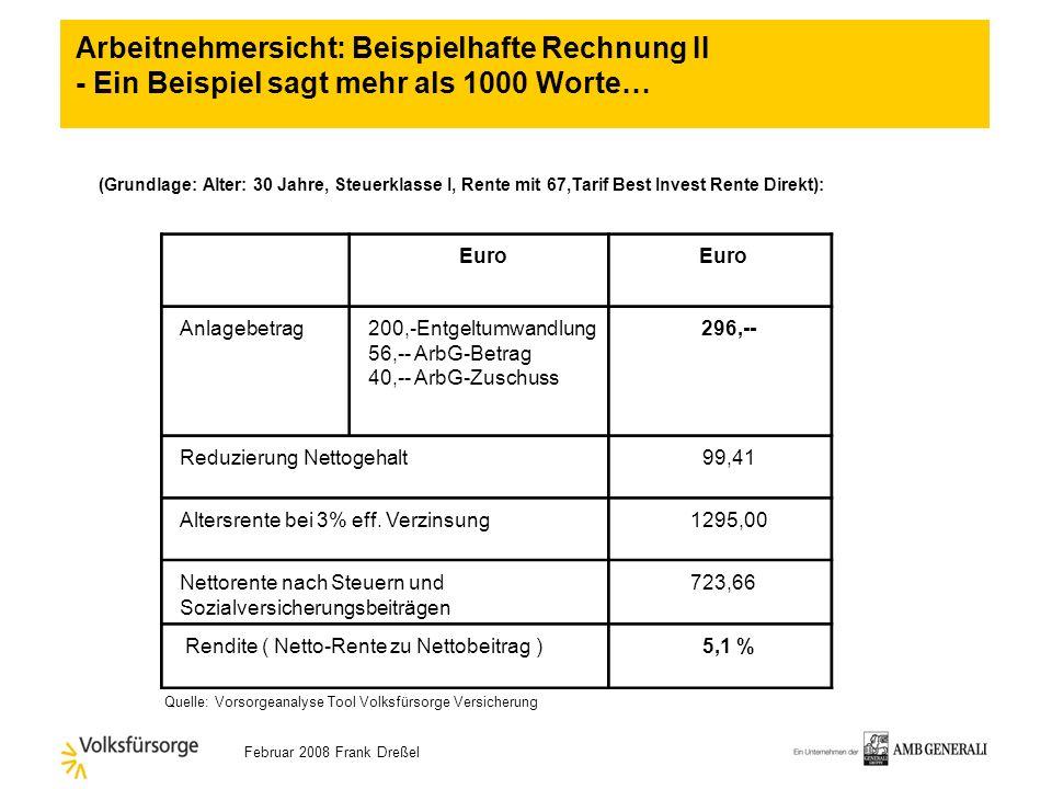 Februar 2008 Frank Dreßel Euro Anlagebetrag130,-Entgeltumwandlung 56,-- ArbG-Betrag 26,-- ArbG-Zuschuss 212,-- Reduzierung Nettogehalt 64,41 Altersren