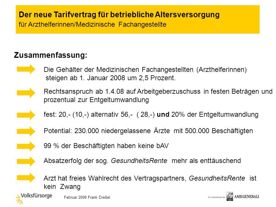 Februar 2008 Frank Dreßel Euro Anlagebetrag200,-Entgeltumwandlung 56,-- ArbG-Betrag 40,-- ArbG-Zuschuss 296,-- Reduzierung Nettogehalt 99,41 Altersren