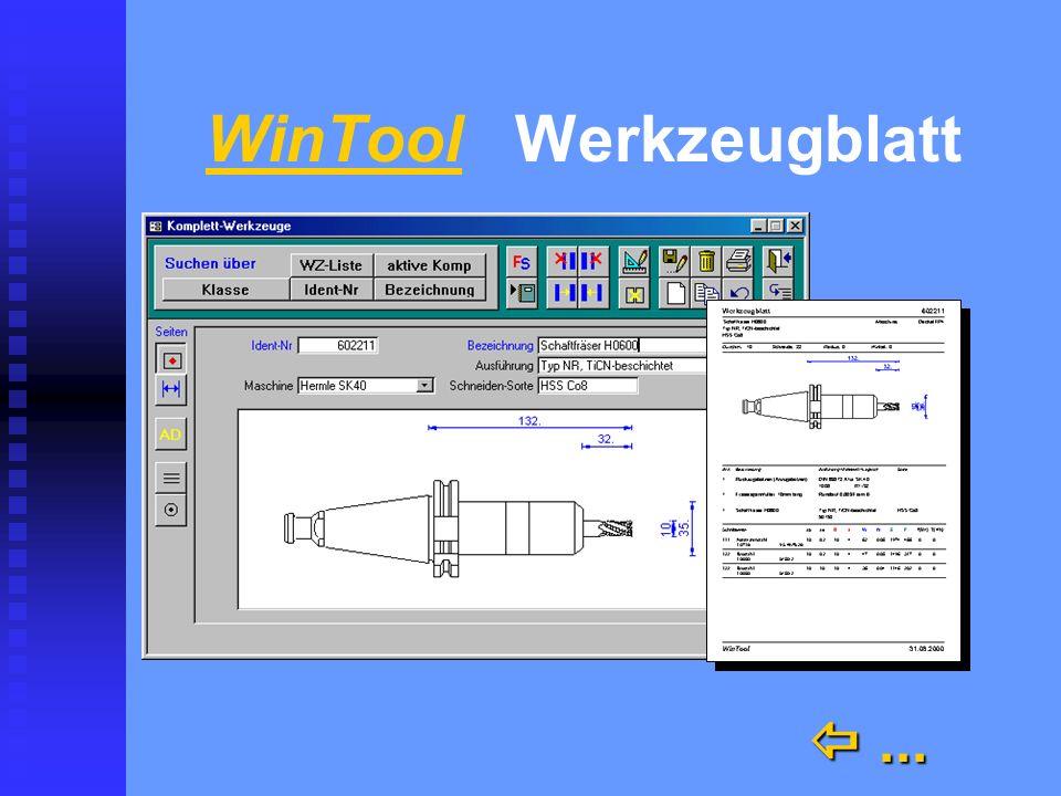 WinTool n Kataloge n Archiv n Werkzeugblatt mit Grafik, Stückliste und Schnittdaten einfach und ohne CAD einfach und ohne CAD