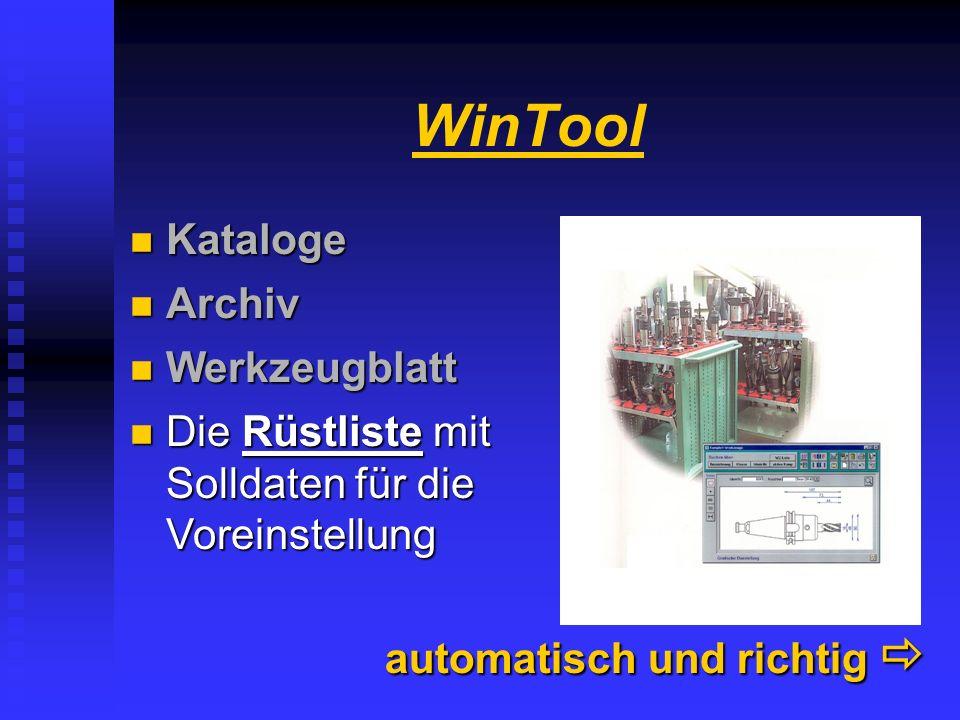 WinTool Werkzeugblatt......