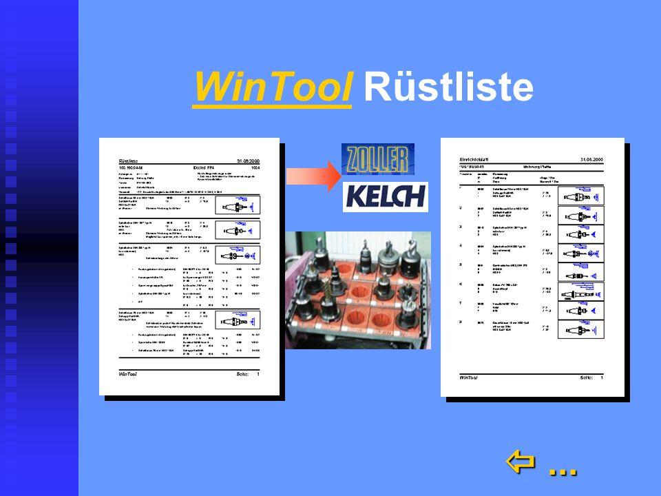 WinTool n Kataloge n Archiv n Werkzeugblatt n Die Rüstliste mit Solldaten für die Voreinstellung automatisch und richtig automatisch und richtig
