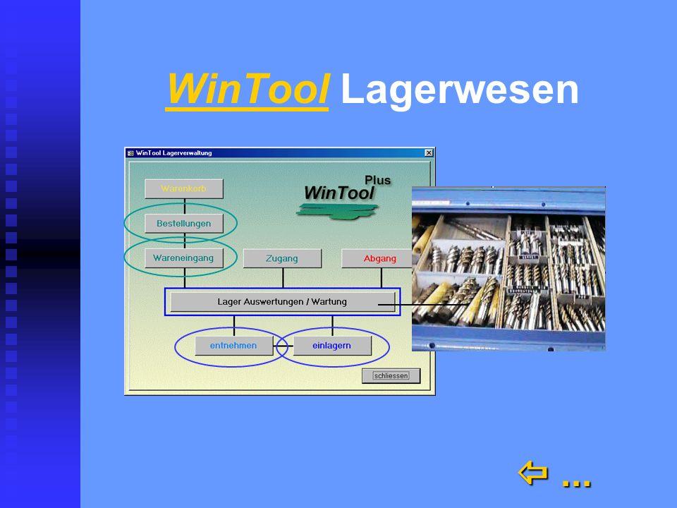 WinTool bestellen, entnehmen, ensorgen bestellen, entnehmen, ensorgen n Kataloge n Archiv n Werkzeugblatt n Rüstliste n Die Lagerkontrolle mit Bestell