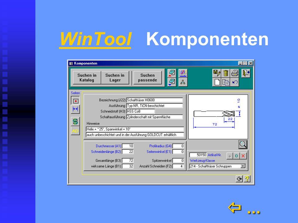 WinTool schnell und übersichtlich schnell und übersichtlich n Kataloge n Archiv für Ihre Werkzeugdaten und Grafiken