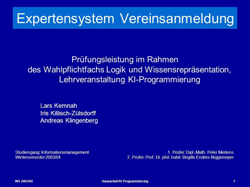 WS 2003/04Hausarbeit KI Programmierung1 Expertensystem Vereinsanmeldung Prüfungsleistung im Rahmen des Wahlpflichtfachs Logik und Wissensrepräsentatio