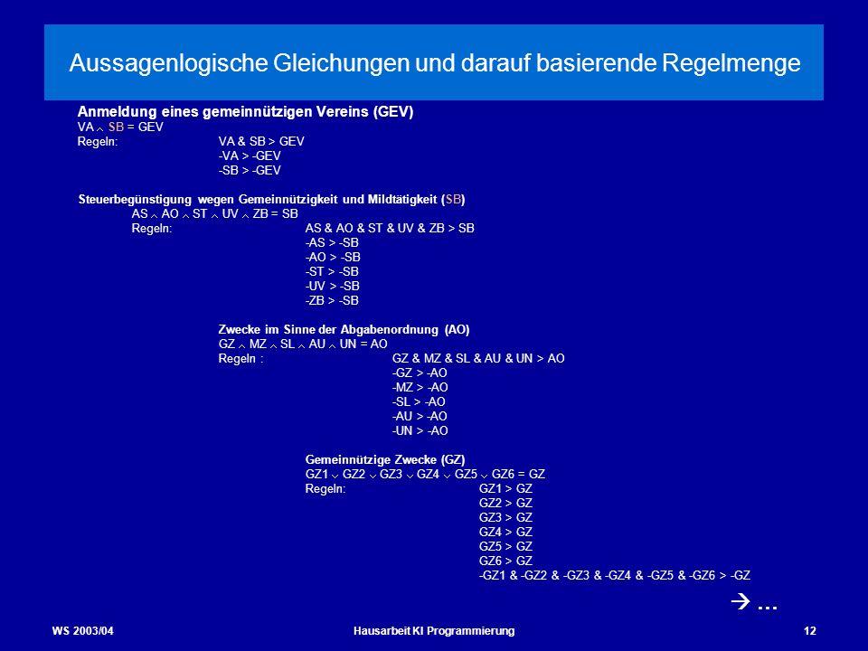 WS 2003/04Hausarbeit KI Programmierung12 Aussagenlogische Gleichungen und darauf basierende Regelmenge Anmeldung eines gemeinnützigen Vereins (GEV) VA