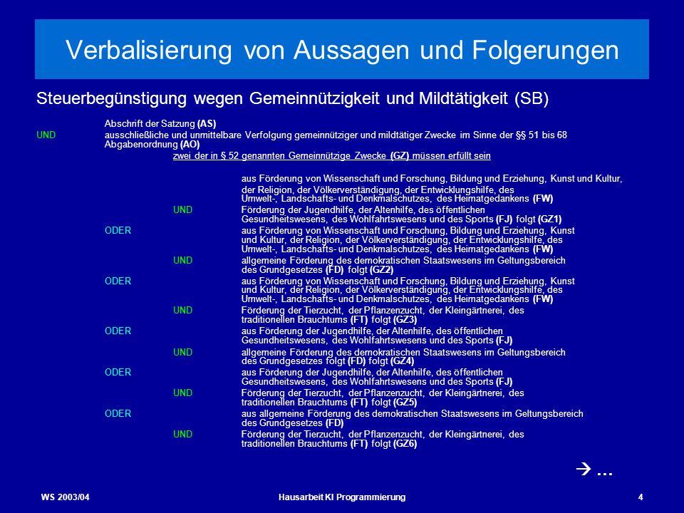 WS 2003/04Hausarbeit KI Programmierung4 Verbalisierung von Aussagen und Folgerungen Abschrift der Satzung (AS) UNDausschließliche und unmittelbare Ver