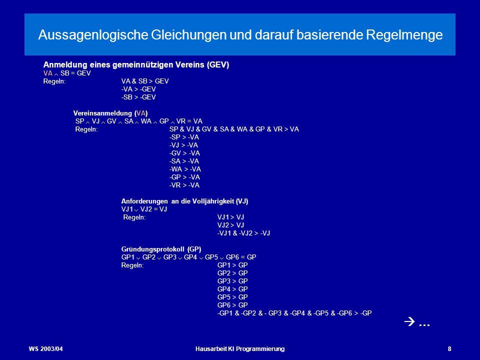 WS 2003/04Hausarbeit KI Programmierung8 Aussagenlogische Gleichungen und darauf basierende Regelmenge Anmeldung eines gemeinnützigen Vereins (GEV) VA
