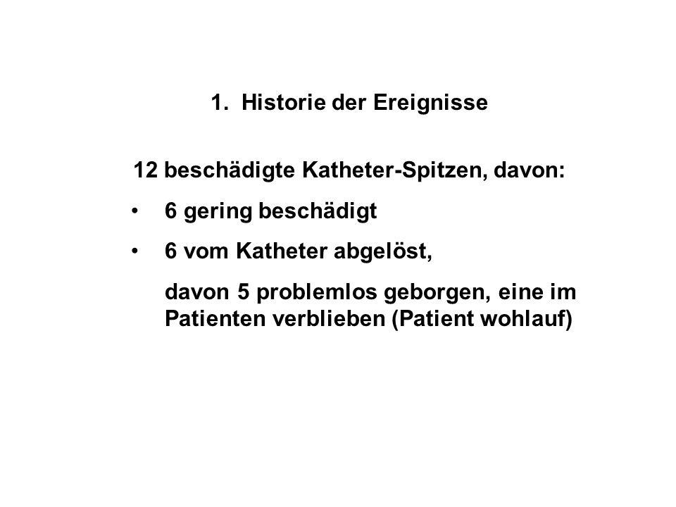 1. Historie der Ereignisse 12 beschädigte Katheter-Spitzen, davon: 6 gering beschädigt 6 vom Katheter abgelöst, davon 5 problemlos geborgen, eine im P
