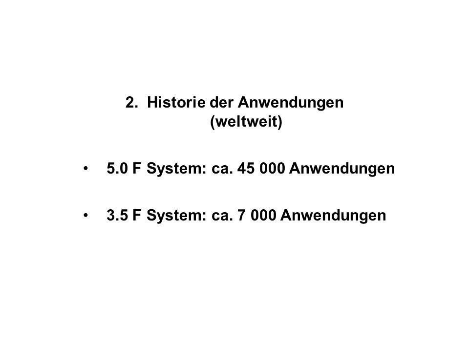 2. Historie der Anwendungen (weltweit) 5.0 F System: ca. 45 000 Anwendungen 3.5 F System: ca. 7 000 Anwendungen