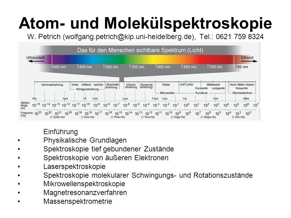 Atom- und Molekülspektroskopie W. Petrich (wolfgang.petrich@kip.uni-heidelberg.de), Tel.: 0621 759 8324 Einführung Physikalische Grundlagen Spektrosko