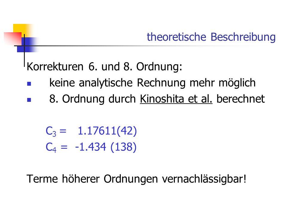 theoretische Beschreibung Korrekturen 6. und 8. Ordnung: keine analytische Rechnung mehr möglich 8. Ordnung durch Kinoshita et al. berechnet C 3 = 1.1