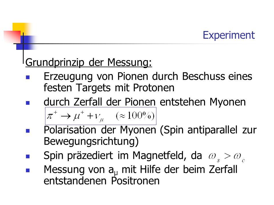 Experiment Grundprinzip der Messung: Erzeugung von Pionen durch Beschuss eines festen Targets mit Protonen durch Zerfall der Pionen entstehen Myonen P