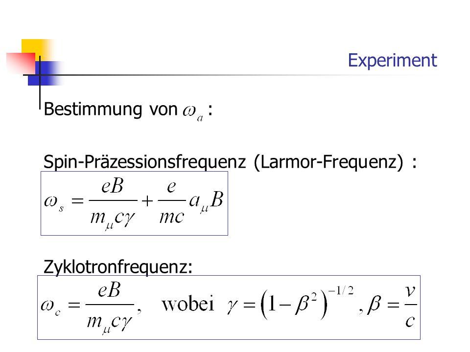 Experiment Bestimmung von : Spin-Präzessionsfrequenz (Larmor-Frequenz) : Zyklotronfrequenz: