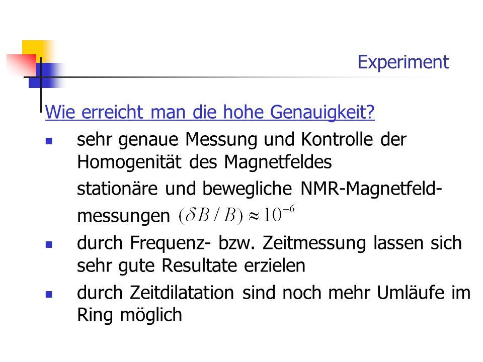 Experiment Wie erreicht man die hohe Genauigkeit? sehr genaue Messung und Kontrolle der Homogenität des Magnetfeldes stationäre und bewegliche NMR-Mag