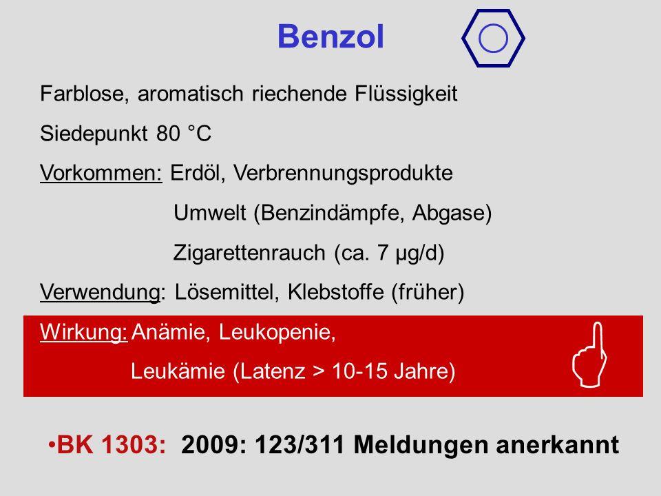 Farblose, aromatisch riechende Flüssigkeit Siedepunkt 80 °C Vorkommen: Erdöl, Verbrennungsprodukte Umwelt (Benzindämpfe, Abgase) Zigarettenrauch (ca.