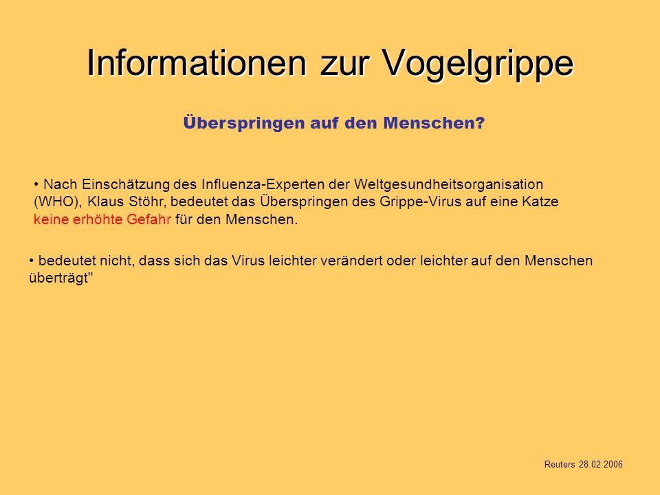 Informationen zur Vogelgrippe Nach Einschätzung des Influenza-Experten der Weltgesundheitsorganisation (WHO), Klaus Stöhr, bedeutet das Überspringen des Grippe-Virus auf eine Katze keine erhöhte Gefahr für den Menschen.