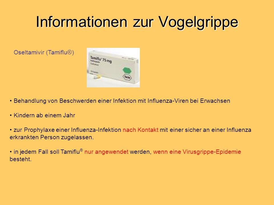 Informationen zur Vogelgrippe Behandlung von Beschwerden einer Infektion mit Influenza-Viren bei Erwachsen Kindern ab einem Jahr zur Prophylaxe einer Influenza-Infektion nach Kontakt mit einer sicher an einer Influenza erkrankten Person zugelassen.