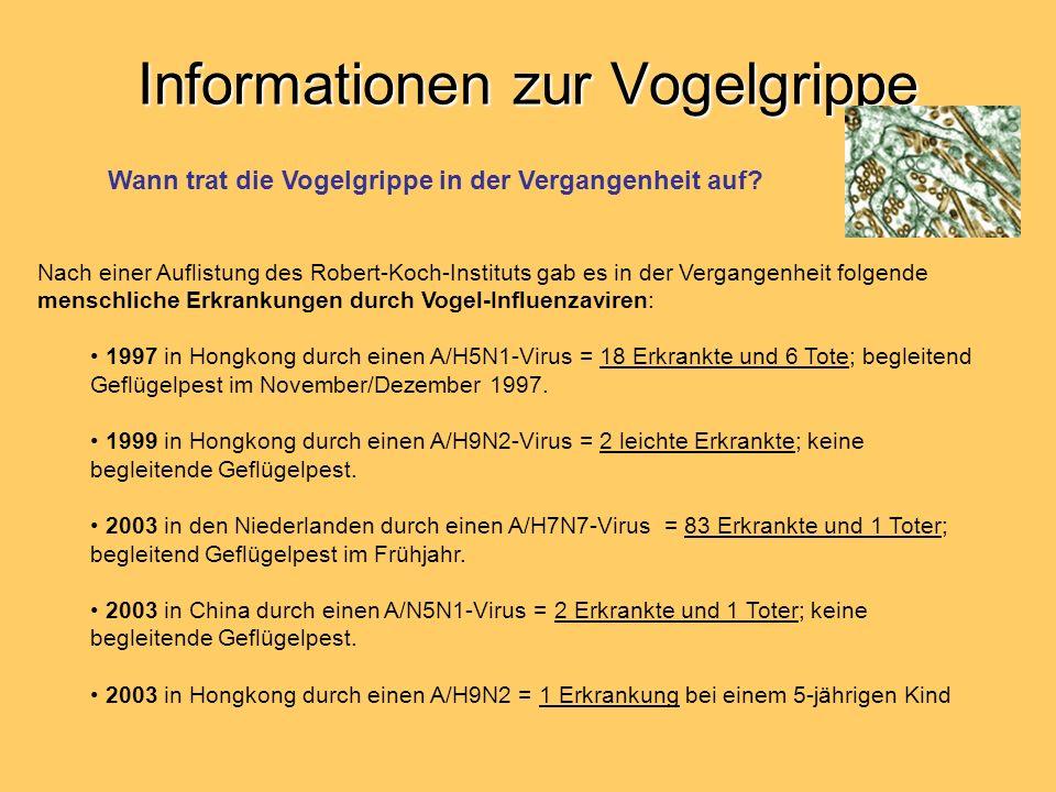 Informationen zur Vogelgrippe Nach einer Auflistung des Robert-Koch-Instituts gab es in der Vergangenheit folgende menschliche Erkrankungen durch Voge