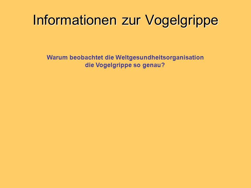 Informationen zur Vogelgrippe Warum beobachtet die Weltgesundheitsorganisation die Vogelgrippe so genau?