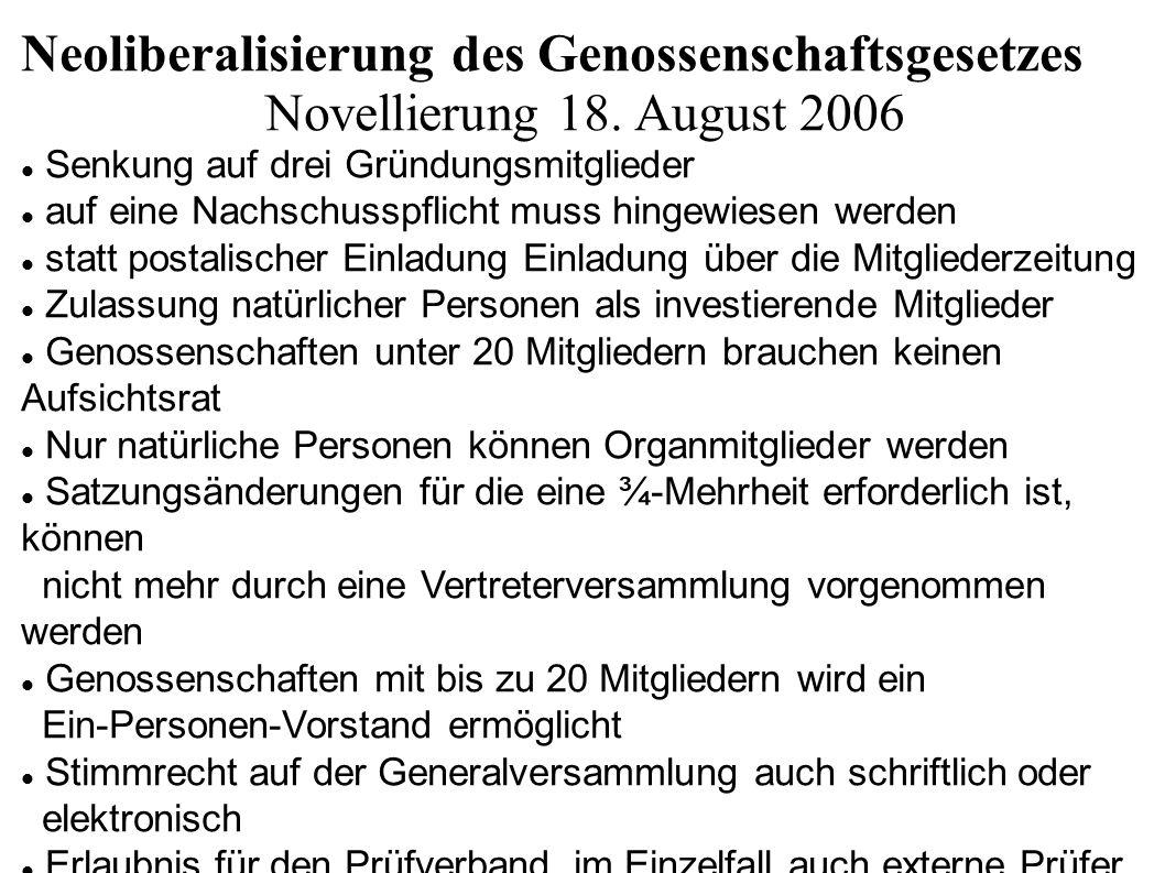 Neoliberalisierung des Genossenschaftsgesetzes Novellierung 18. August 2006 Senkung auf drei Gründungsmitglieder auf eine Nachschusspflicht muss hinge