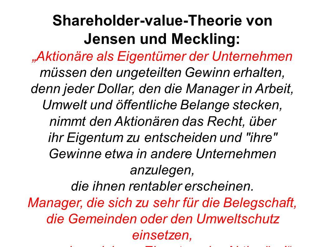 Shareholder-value-Theorie von Jensen und Meckling: Aktionäre als Eigentümer der Unternehmen müssen den ungeteilten Gewinn erhalten, denn jeder Dollar,