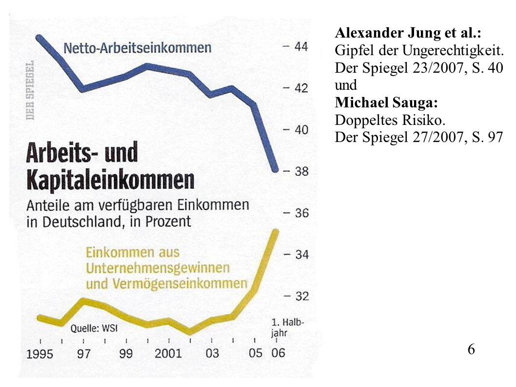 Alexander Jung et al.: Gipfel der Ungerechtigkeit. Der Spiegel 23/2007, S. 40 und Michael Sauga: Doppeltes Risiko. Der Spiegel 27/2007, S. 97 6