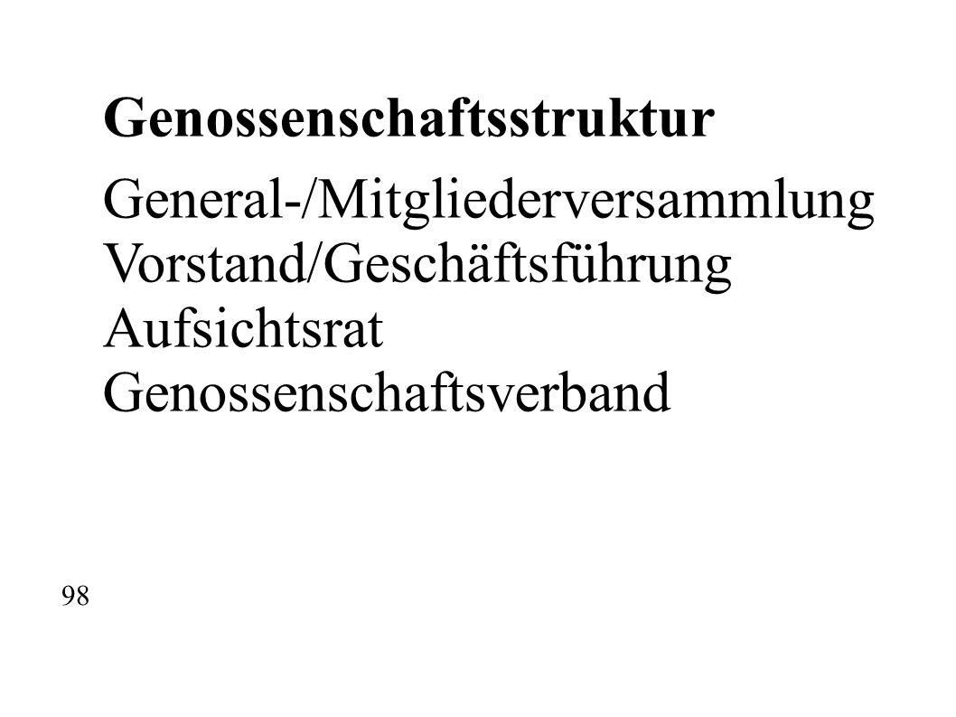Genossenschaftsstruktur General-/Mitgliederversammlung Vorstand/Geschäftsführung Aufsichtsrat Genossenschaftsverband 98