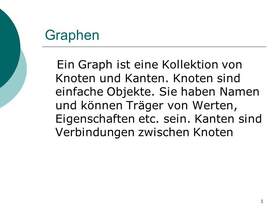 1 Graphen Ein Graph ist eine Kollektion von Knoten und Kanten. Knoten sind einfache Objekte. Sie haben Namen und können Träger von Werten, Eigenschaft