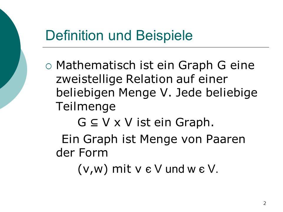 2 Definition und Beispiele Mathematisch ist ein Graph G eine zweistellige Relation auf einer beliebigen Menge V. Jede beliebige Teilmenge G V x V ist