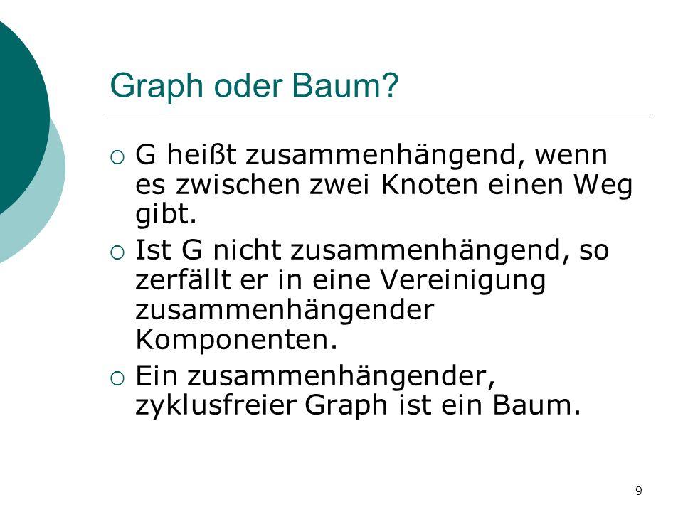 9 Graph oder Baum? G heißt zusammenhängend, wenn es zwischen zwei Knoten einen Weg gibt. Ist G nicht zusammenhängend, so zerfällt er in eine Vereinigu