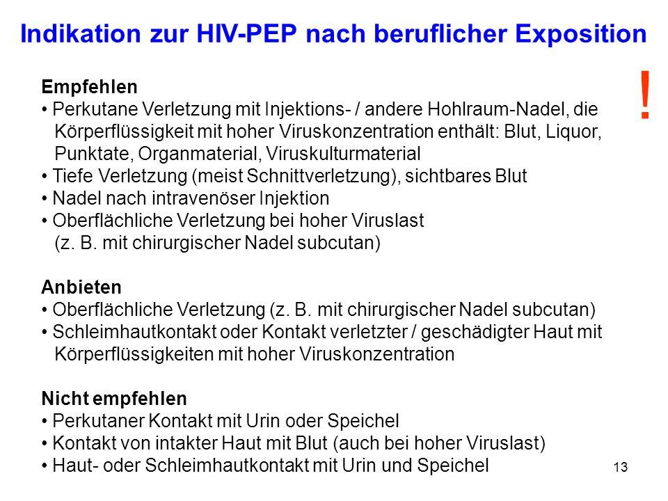 13 Empfehlen Perkutane Verletzung mit Injektions- / andere Hohlraum-Nadel, die Körperflüssigkeit mit hoher Viruskonzentration enthält: Blut, Liquor, P