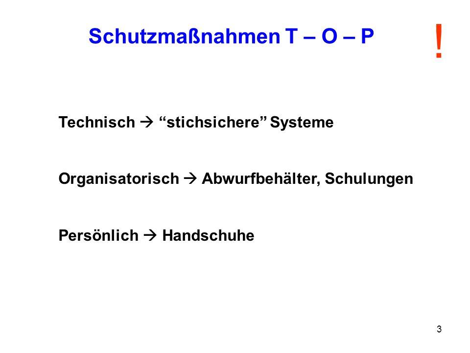 3 Technisch stichsichere Systeme Organisatorisch Abwurfbehälter, Schulungen Persönlich Handschuhe Schutzmaßnahmen T – O – P !
