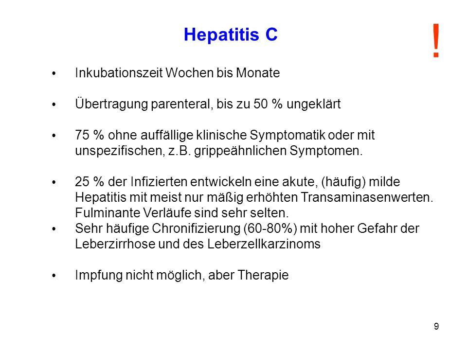 9 Hepatitis C Inkubationszeit Wochen bis Monate Übertragung parenteral, bis zu 50 % ungeklärt 75 % ohne auffällige klinische Symptomatik oder mit unsp