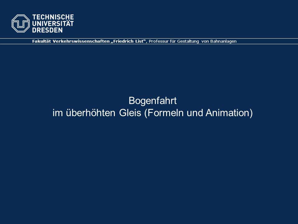 Bogenfahrt im überhöhten Gleis (Formeln und Animation) Fakultät Verkehrswissenschaften Friedrich List, Professur für Gestaltung von Bahnanlagen