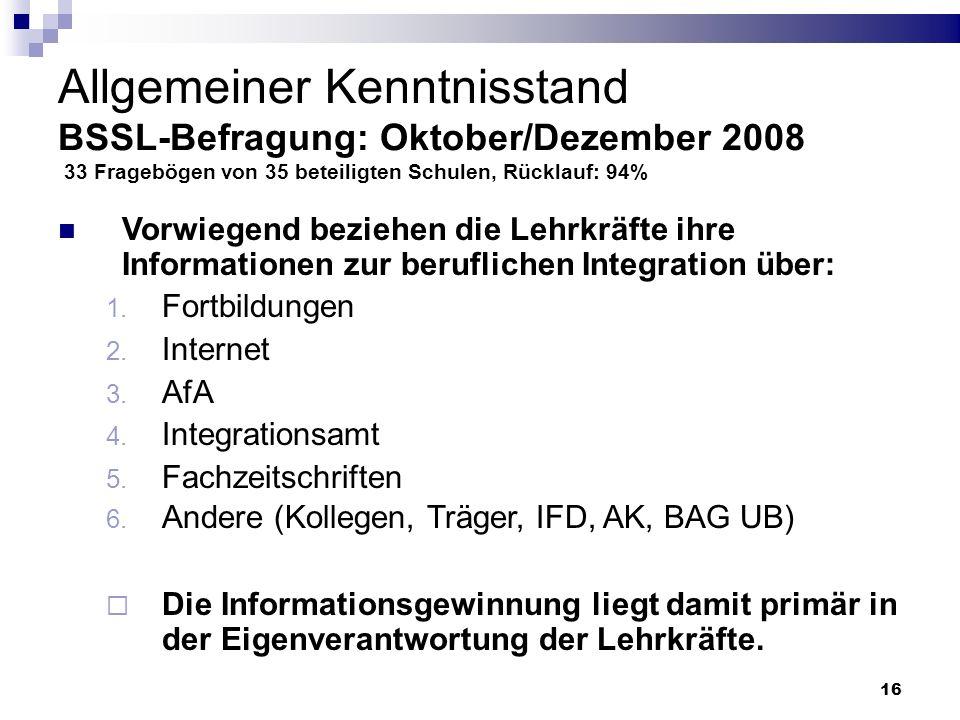 16 Allgemeiner Kenntnisstand BSSL-Befragung: Oktober/Dezember 2008 33 Fragebögen von 35 beteiligten Schulen, Rücklauf: 94% Vorwiegend beziehen die Leh