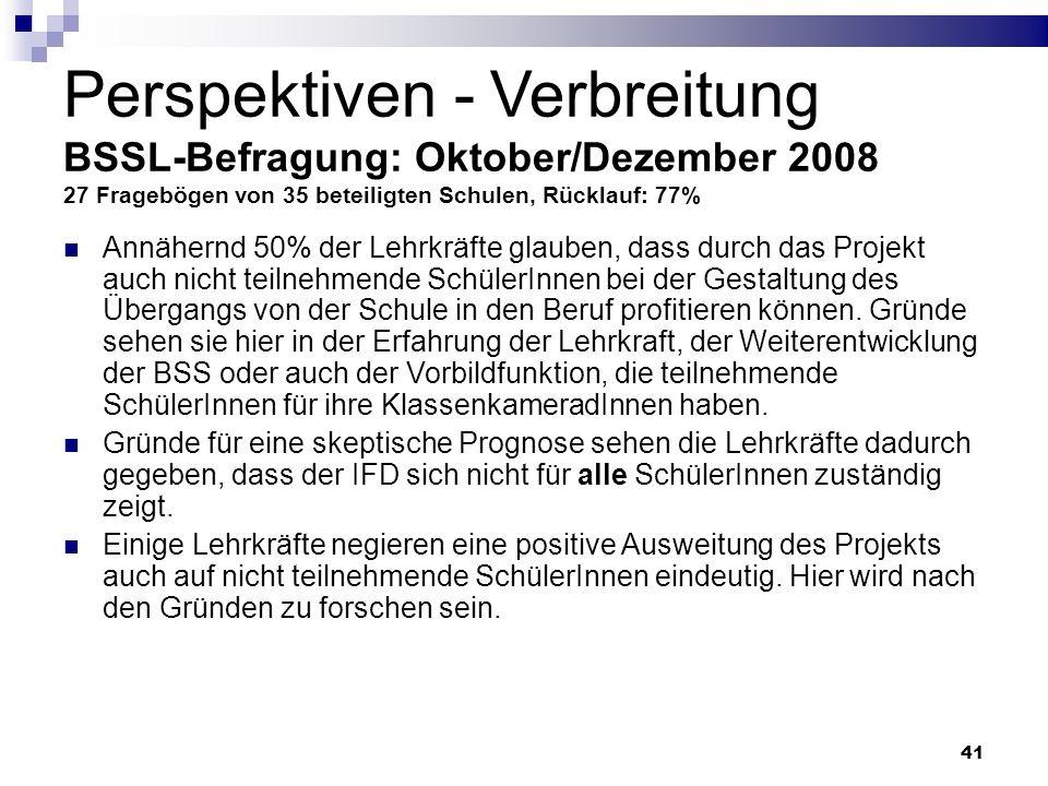 41 Perspektiven - Verbreitung BSSL-Befragung: Oktober/Dezember 2008 27 Fragebögen von 35 beteiligten Schulen, Rücklauf: 77% Annähernd 50% der Lehrkräf