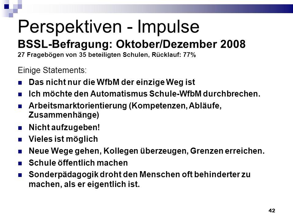 42 Perspektiven - Impulse BSSL-Befragung: Oktober/Dezember 2008 27 Fragebögen von 35 beteiligten Schulen, Rücklauf: 77% Einige Statements: Das nicht n