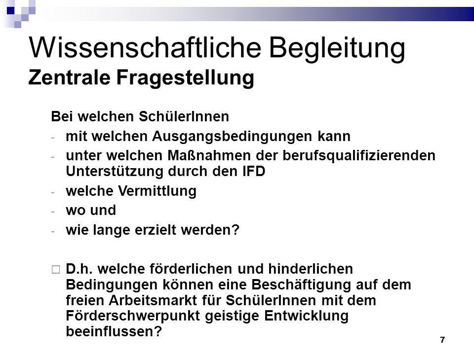 88 Wirkfaktoren Gesellschaftliche Bedingungen SchülerIn Elternhaus Schule IFD Betriebe Arbeitsagentur Vernetzung