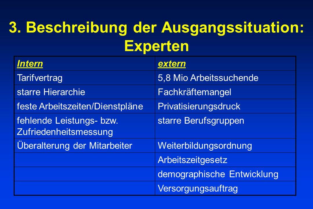 3. Beschreibung der Ausgangssituation: Experten Internextern Tarifvertrag5,8 Mio Arbeitssuchende starre HierarchieFachkräftemangel feste Arbeitszeiten