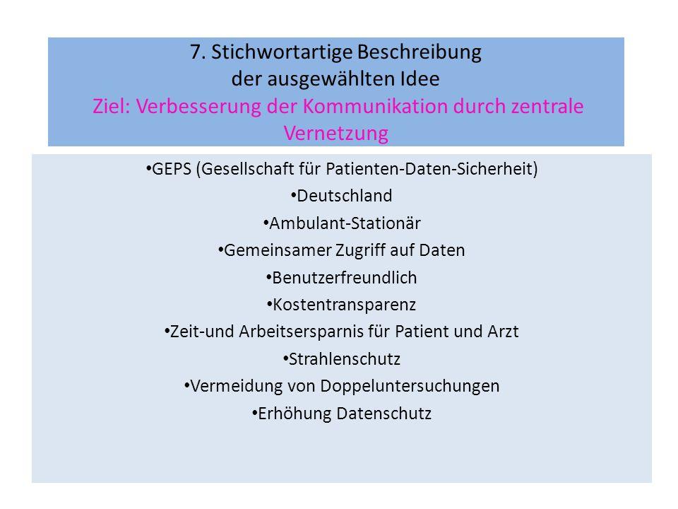 GEPS (Gesellschaft für Patienten-Daten-Sicherheit) Deutschland Ambulant-Stationär Gemeinsamer Zugriff auf Daten Benutzerfreundlich Kostentransparenz Z