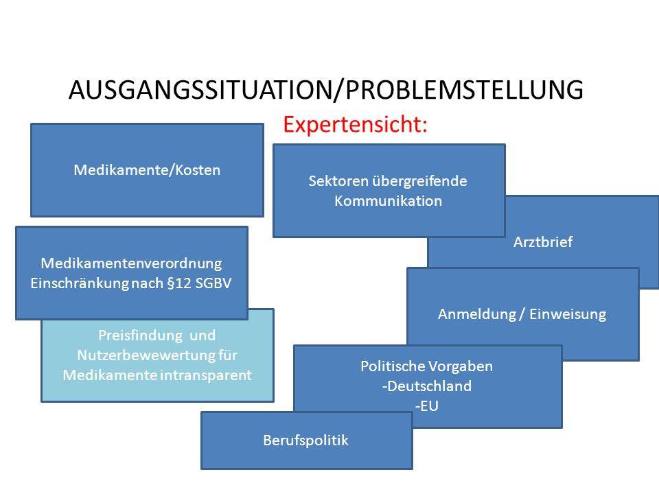 Arztbrief AUSGANGSSITUATION/PROBLEMSTELLUNG Expertensicht: Preisfindung und Nutzerbewewertung für Medikamente intransparent Medikamentenverordnung Ein