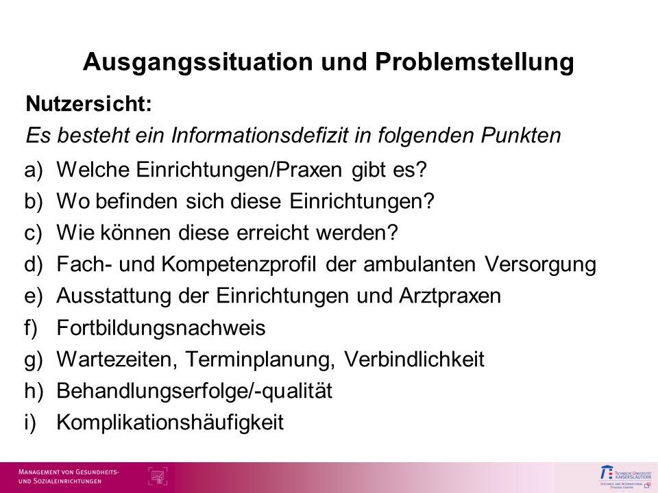 Ausgangssituation und Problemstellung a)Welche Einrichtungen/Praxen gibt es? b)Wo befinden sich diese Einrichtungen? c)Wie können diese erreicht werde