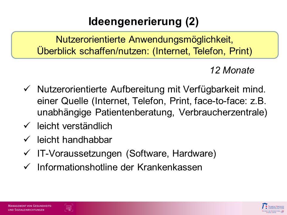 Ideengenerierung (2) Nutzerorientierte Aufbereitung mit Verfügbarkeit mind. einer Quelle (Internet, Telefon, Print, face-to-face: z.B. unabhängige Pat