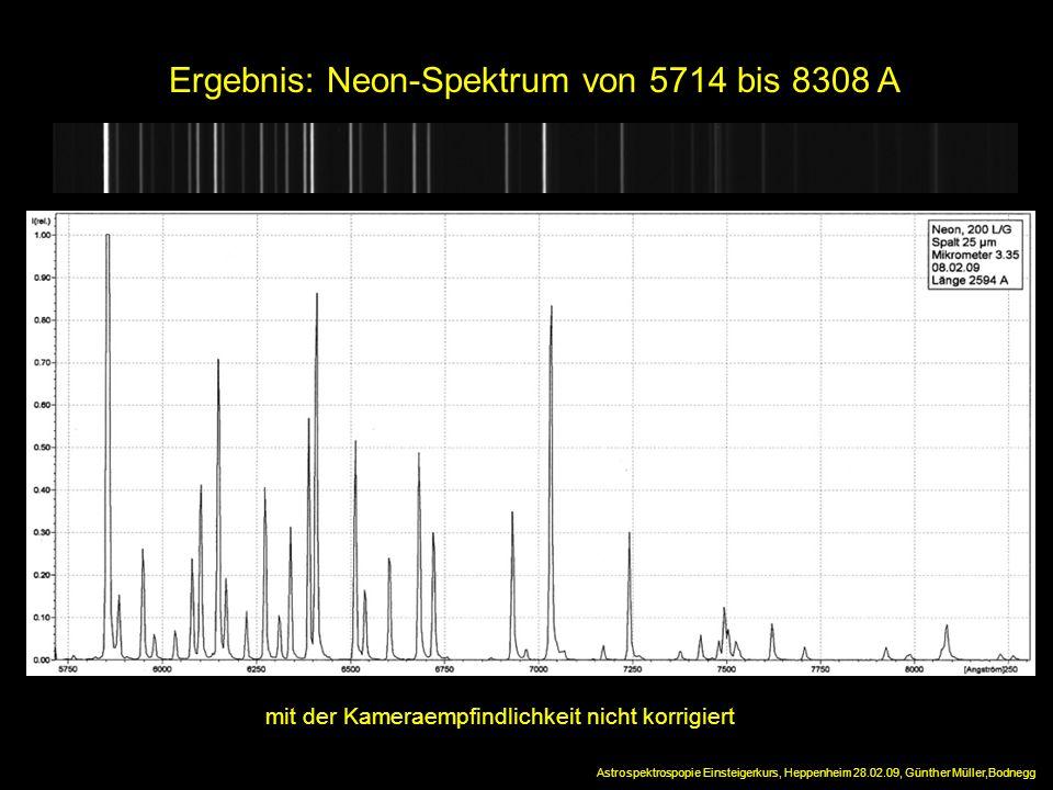 Ergebnis: Neon-Spektrum von 5714 bis 8308 A mit der Kameraempfindlichkeit nicht korrigiert Astrospektrospopie Einsteigerkurs, Heppenheim 28.02.09, Gün